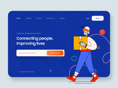 Shipping / Deliver app landing page ui modern minimal web app product design people tracking app landing page online shop ecommerce delivery courier shipping vector illustration typography app design landing web