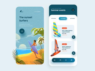 Summer Fest App Design android sunset vector illustration application ux ui app ui summer sea ocean wave surf board surfing typography product design minimal app design design app