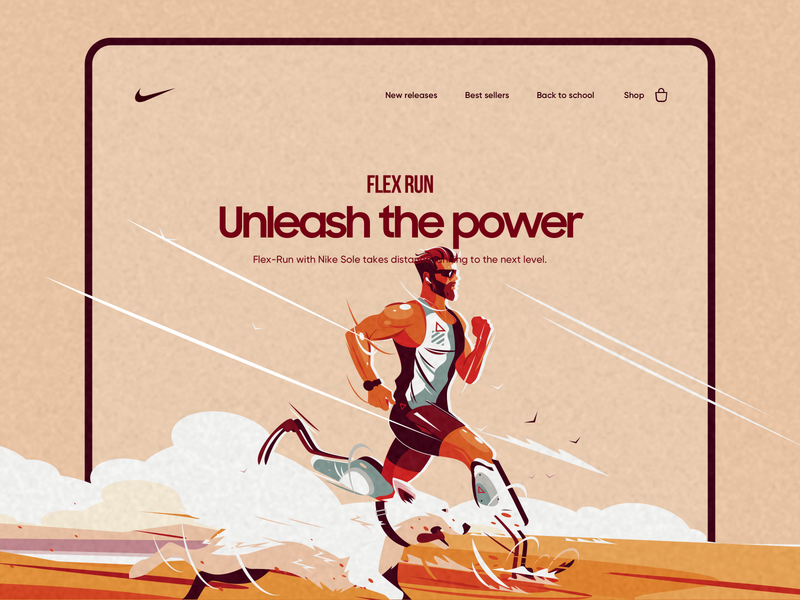 Nike - Flex Run landing page design power dog nike running running runner landing landing page product design typography ui design ui design minimal illustration vector web design webdeisgn website web nike