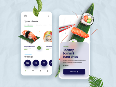 Food App Ui Design sushi blurred ux ui ui design animation product design typography illustration minimal online delivery food app food mobile ui mobile app 2d 3d design app