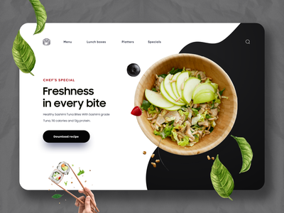 Food Website Design eat restaurant food app vector mobile typography product design minimal illustration web design app design landing landing page website design ui fresh food website web