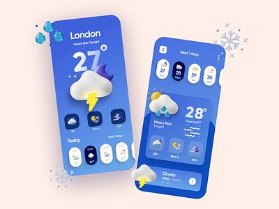 Weather App Design vector creative minimalism modern weather application ui ux app design 3d app 3d art 2d 3d illustration typography product design animation minimal design app
