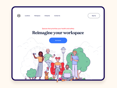 Office / co working landing page design cta product minimalism landing page website design web design web remote office workspace app ui design landing product design ui illustration typography vector design minimal