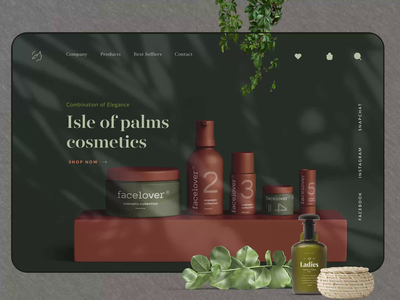 Cosmetics , Beauty Landing Page Design realistic plant animation typography product design minimal store online shop ecommerce online shop shopping ladies beauty cosmetic cosmetics web design design website web