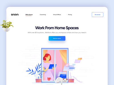 Work from home Landing page gradient office space workfromhome workspace 3d art product design minimal app logo branding typography illustration web design website landing page landing graphic 3d