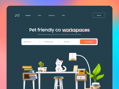 Find Office / Work space Landing page creative layout illustration product design pets book search app design design modern typeface typography 3d ux ui landing page landing web design webdesign website