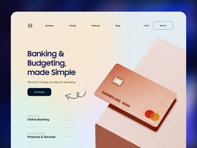 Digital Bank Website Design colorful debit card ux ui design app dark minimal online bank landing page typography product design illustraion mobile credit card digital banking bank web design website animation all