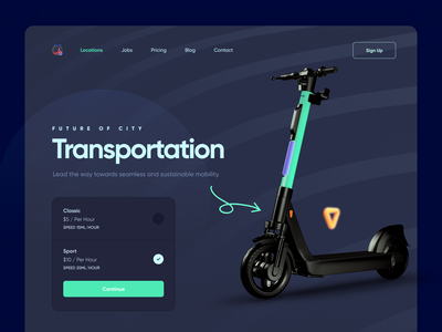 Electric Scooter Landing Page 3d landing page design website design web design website charging electric scooty scooter vector design illustration product design typography minimal creative landing landing page