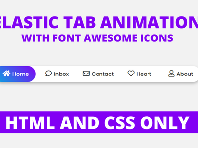 Elastic Active Tab Animation using only HTML & CSS css animation menu bar hover effect navbar animation elastic tab animation html css active tab animation menu bar navbar