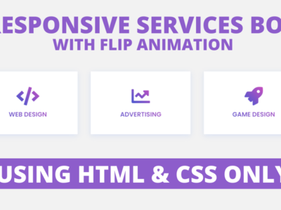 Responsive Services Box with Flip Animation using only HTML & CS css effect css animation responsive services box html css service section html css service box services card