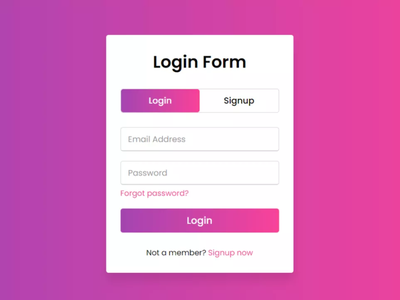 Animated Login & Signup Form Design using HTML CSS & JavaScript javascript html css login and signup page login and signup form signup page signup form login page login form