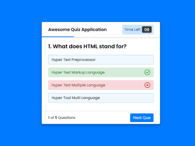 Create a Quiz App with Timer using HTML CSS & JavaScript quiz app with timer quiz web app quiz application javascript javascript quiz app quiz app