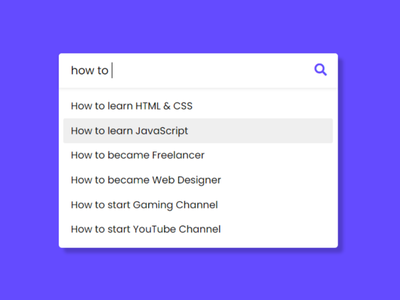 Autocomplete Search  using HTML CSS & JavaScript javascript search box autocomplete textbox search box search bar