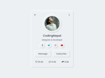 Neumorphism Profile Card UI Design using only HTML & CSS neumorphism ui css3 neumorphism ui design neumorphism profile card design neomorphic design neumorphism design
