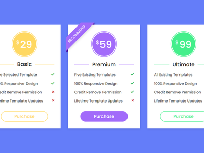 Responsive Pricing Tables using only HTML & CSS css animation css pricing card pricing cards