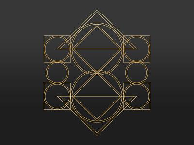 Geometric Art WIP pyramid gold shapes logo design geometric
