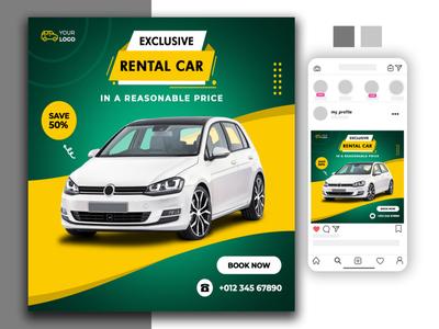 Rent car social media post website social media banner logodesign design vector logo animation illustration typography branding