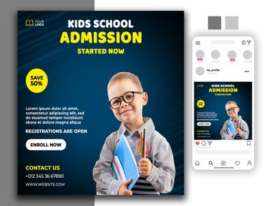 Admission social media post flyer brochure social media banner logodesign vector animation design typography illustration branding