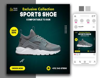 Shoe sale social media post brochure logo website social media banner logodesign animation branding design typography illustration