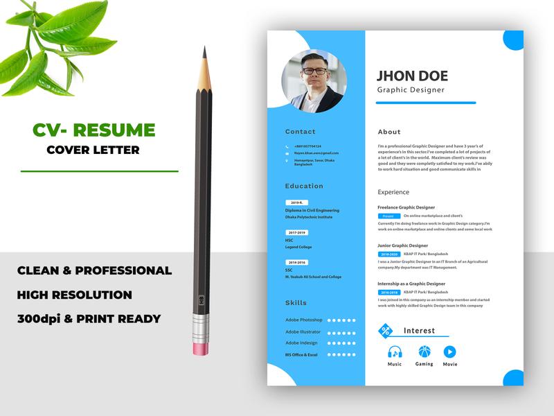 Professional cv or resume design brochure social media banner logodesign branding vector logo animation design typography illustration