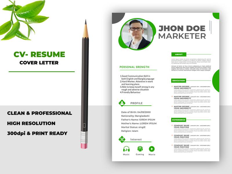 Professional clean resume design brochure social media banner logodesign vector logo animation design typography illustration branding