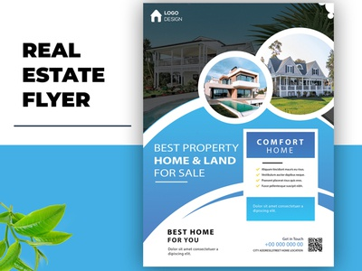 Flyer design for Real estate company flyer brochure website social media banner logodesign vector animation design typography illustration branding