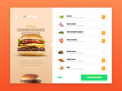 Daily UI #007 - Settings customization food hamburger dailyui007 design ui interface dailyui