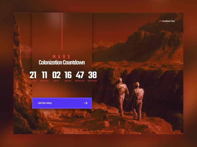 Daily UI #014 - Countdown Timer timer countdown elonmusk mars interface design ui countdowntimer dailyui014 dailyui