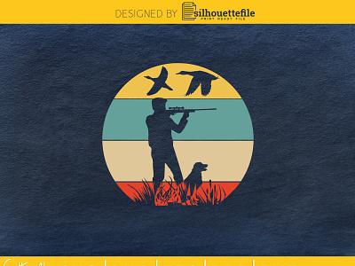 Vintage retro style duck hunting Dog hunter flying duck duck hunt hunting cricut graphic design branding crafts