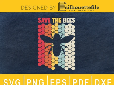 Vintage Retro Style Save The Bees vector cricut crafts branding illustration design save the earth environment design save the bees bee bees