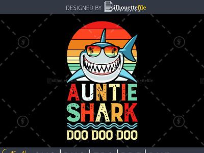 Auntie Shark Doo Doo Doo vintage retro style family reunion family guy family crest cricut design crafts vector branding illustration retro design vintage design doo shark auntie