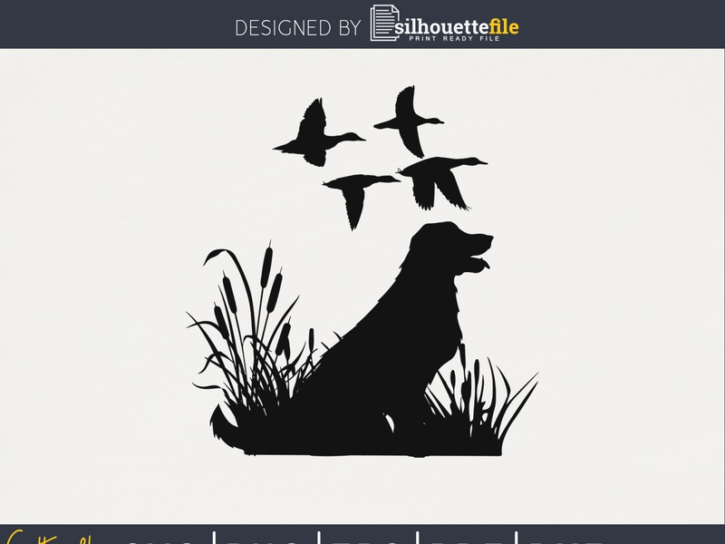 Flying duck hunting dog silhouette file duck hunter dog hunter flying duck hunting t-shirt design hunting silhouettefile hunting vector duck hunt vector design cricut crafts