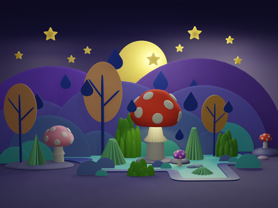 Mushroom field illustration