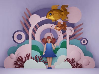 Girl with fish illustration