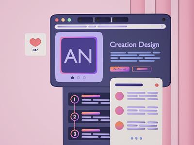 AN's www 3d art website branding icon web ux design illustration