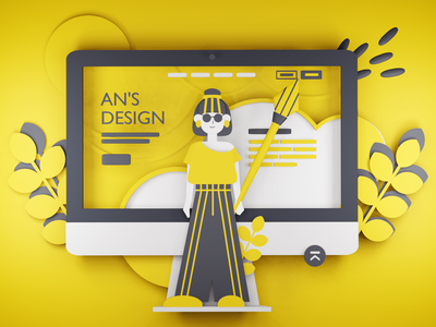 Yellow Style design 3d 3d art illustration