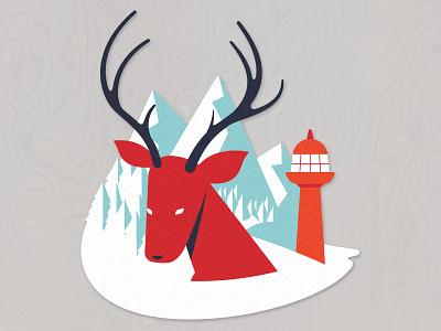 Great Wild North eh lighthouse wildlife deer sticker canada