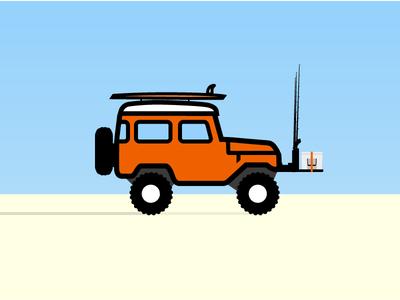 Gone Fishin' 4 wheel drive land cruiser fj45 fj40 truck summer cooler fishing beach jeep