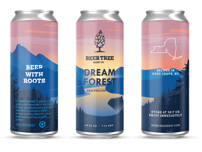 Beer Tree Brew Co - Dream Forest scene woods sunrise brewery new york forest can beer