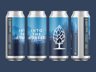 Beer Tree Brew Co - Into the Forest Re-label star sky night forest beer can design label can mockup beer can beer