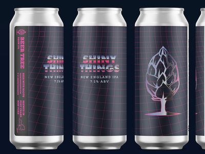 Beer Tree Brew Co - Shiny Things v1 beer hop metal outrun retro shiny pint 16oz beer can beer can design beer art