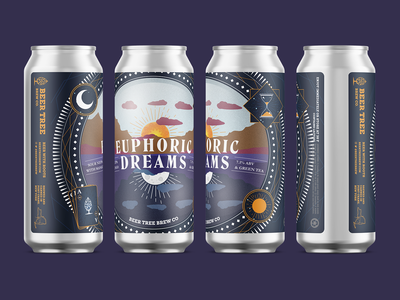 Beer Tree Brew Co - Euphoric Dreams Sour NEIPA illustration beer can design 16oz beer can