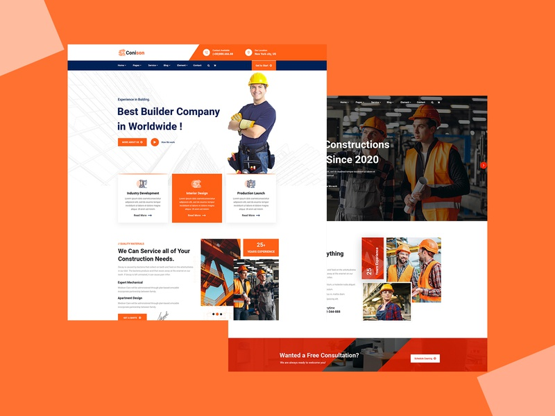 Conison- Construction PSD Template interior design industry industrial handyman factory engineers electrician creative contractor construction company construction business construction building builder architecture