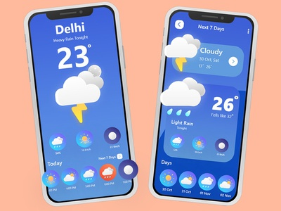 Weather App Design adobe xd ux ui theme ui theme template icons design app iso