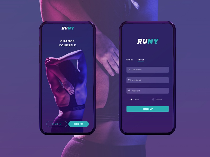 Runy Fitness ui Mockup gradient woman excercise fitness logo fitness app design ux ui