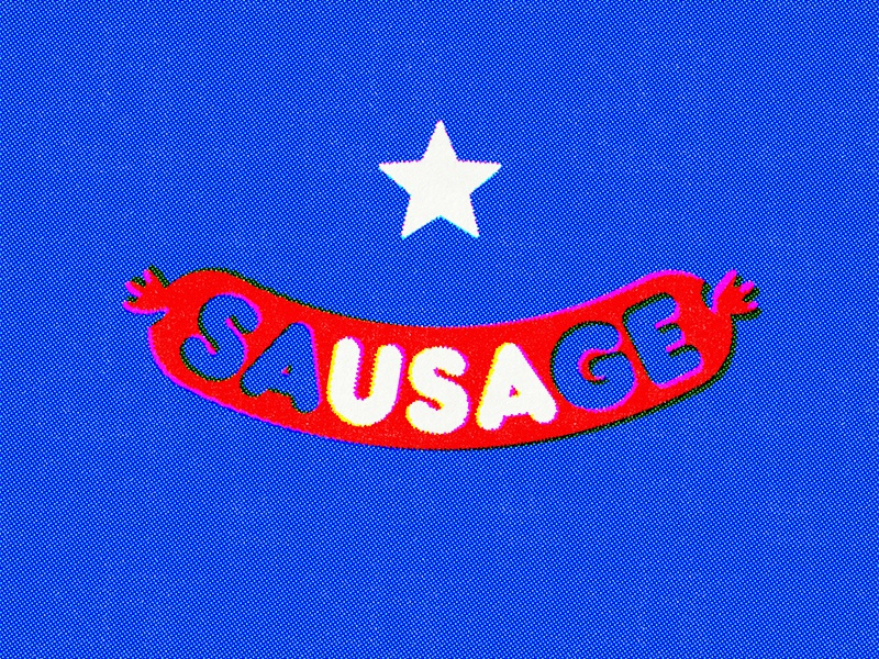 Can't spell sausage without USA usa cold beer hot dogs star america sausage 4th of july