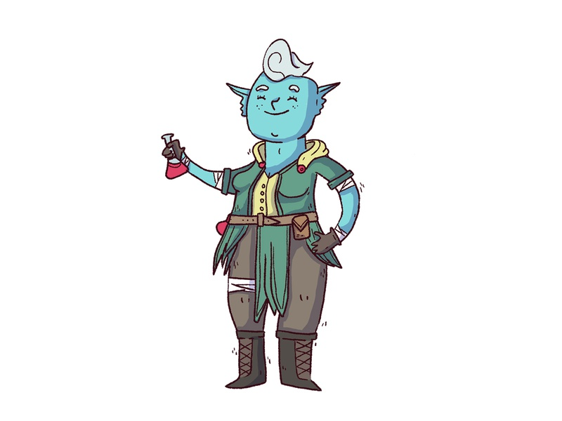 genasi cute alchemist potion blue genasi water