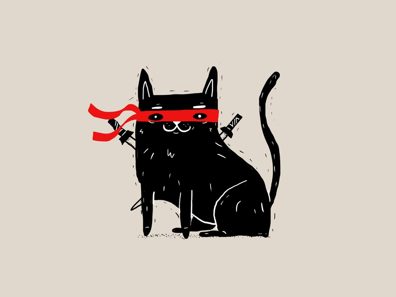 ninja icon ink katana sword samurai black kitten kitty cat ninja