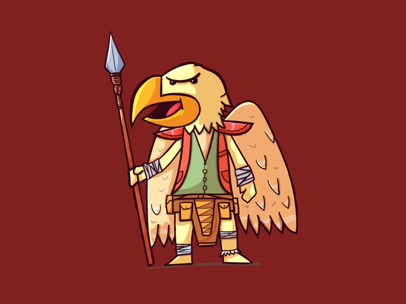 aarakokra wings beak spear cute tribal man bird