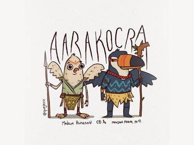 Aarakocra color illustration drawing shaman race monster dnd pigeon toucan aarakocra